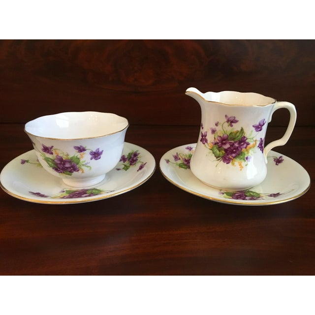 1950s Violet Floral Bone China Luncheon Plates - Set of 9 For Sale In West Palm - Image 6 of 13