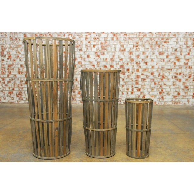 Tall Wooden Cellar Baskets-Set of 3 For Sale - Image 11 of 11