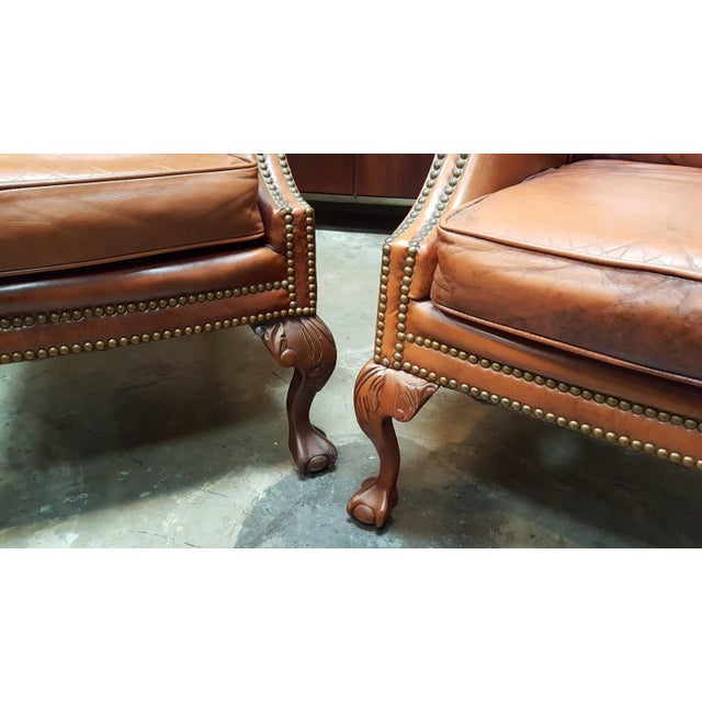 Schafer Brothers Leather Wing Chairs - Pair For Sale - Image 5 of 10