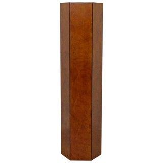 Italian, 1970s Mid-Century Modern Burl Wood & Rosewood Hexagon Display Pedestal For Sale