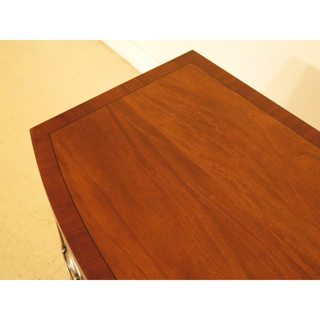 Federal Vintage Ethan Allen Federal Style Bow Front Mahogany Low Chest For Sale - Image 3 of 13