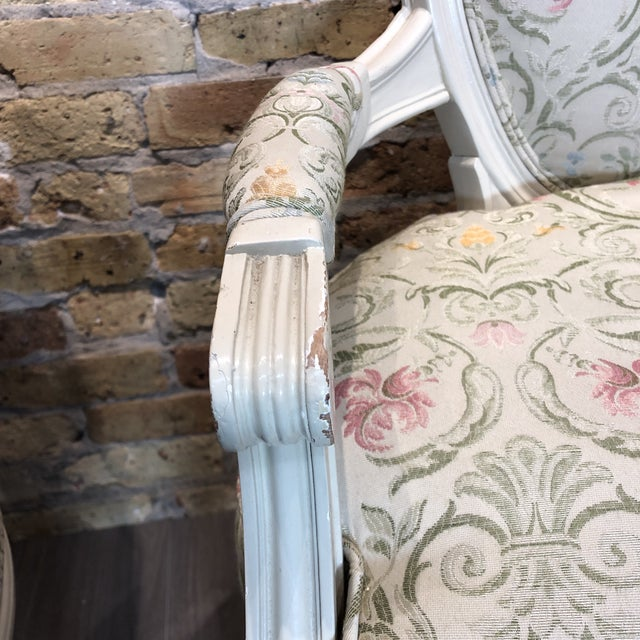 Fabric 1930s Vintage French Style Upholstered Chairs- a Pair For Sale - Image 7 of 13