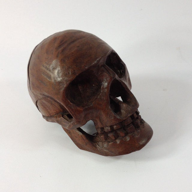 Gothic Small Anatomical Wooden Skull For Sale - Image 3 of 6