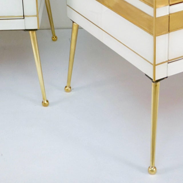 White Contemporary Italian Gold Brass and White Cream Glass Chests Side Tables - a Pair For Sale - Image 8 of 9