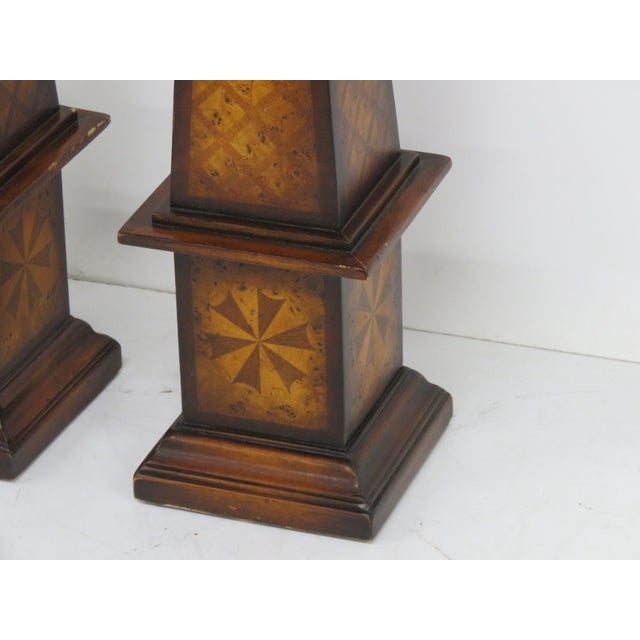 Maitland Smith Inlaid Obelisks - A Pair - Image 2 of 4