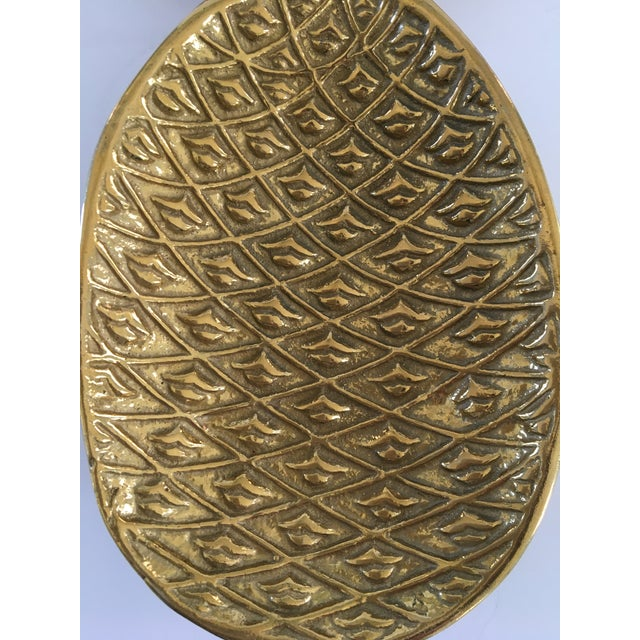 1980s Vintage Palm Beach Style Solid Brass Footed Pineapple Shaped Tray/Catchall For Sale - Image 5 of 12