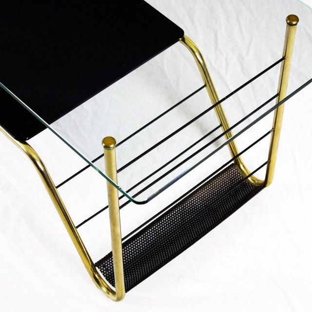 Metal 1960s Coffee Table by Pierre Guariche, Brass, Bronze, Opaline, Glass - France For Sale - Image 7 of 9