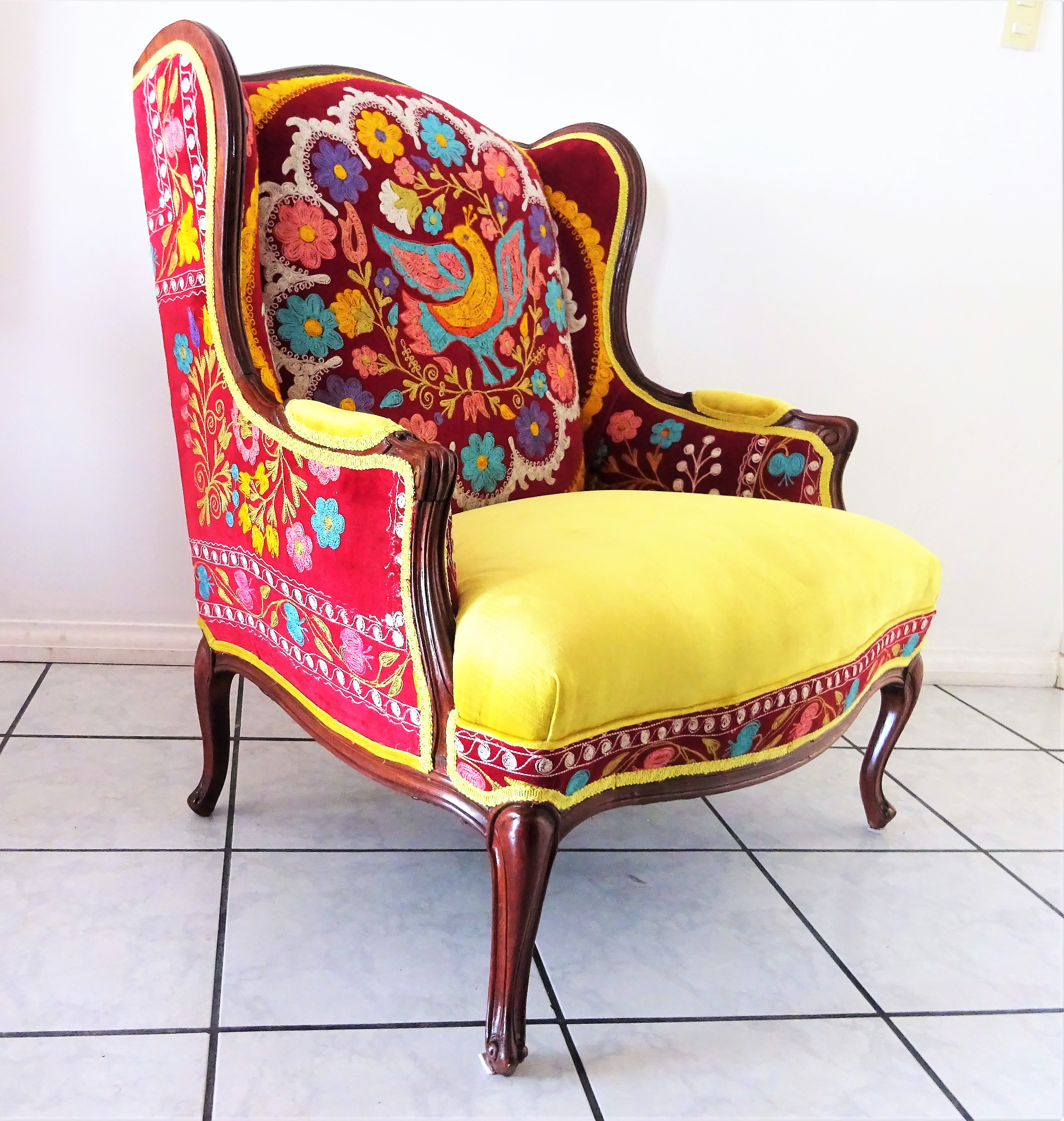 Early 20th Century Suzani Embroidery U0026 Gold Velvet Bohemian Wooden Wingback  Armchair For Sale In San