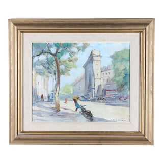 """A Trip to Paris"" Impressionist Cityscape by Knut Norman For Sale"