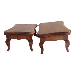 1910s Early American Walnut/Maple Coffee Tables - a Pair For Sale