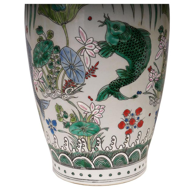 Ceramic 20th Century Chinese Porcelain Koi Fish Vases - a Pair For Sale - Image 7 of 9