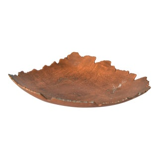 Mid-Century Modern Tree Leaf Shaped Footed Bowl in Bronze, Centerpiece For Sale