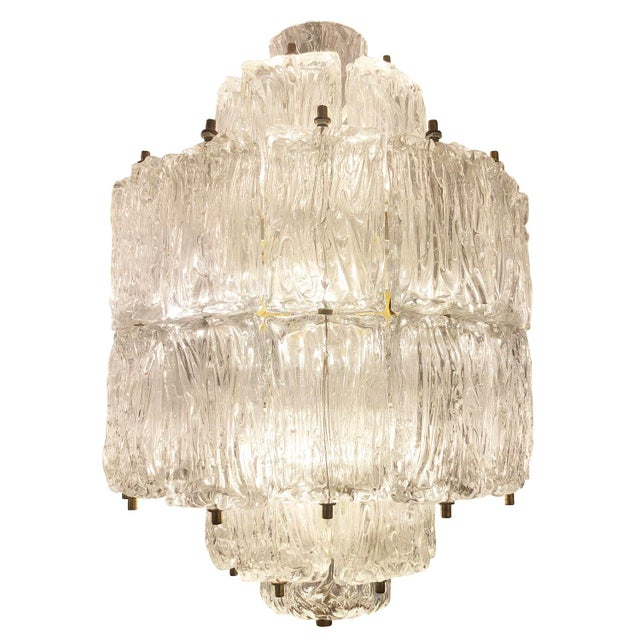 Barovier & Toso Barovier and Toso Textured Glass Chandelier, Italy, 1950's For Sale - Image 4 of 8