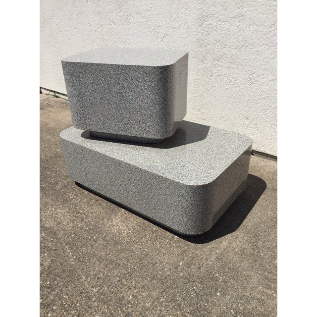 Abstract 1980s AbstractGranite Laminate Modular Pedestal Table Set - 2 Pieces For Sale - Image 3 of 11