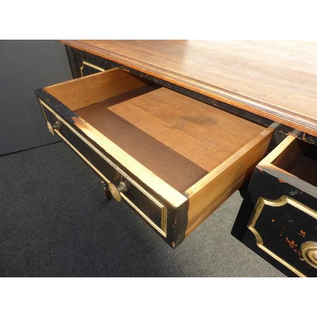 Vintage French Provincial Black & Gold Gilt Writing Desk For Sale - Image 11 of 11
