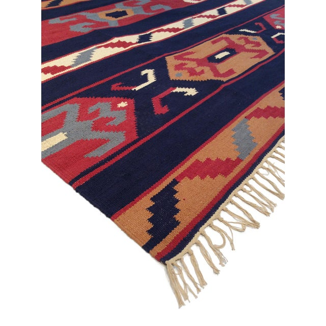 Rustic Anatolian Hand-Woven Cotton Rug- 4' X 6' For Sale - Image 3 of 5