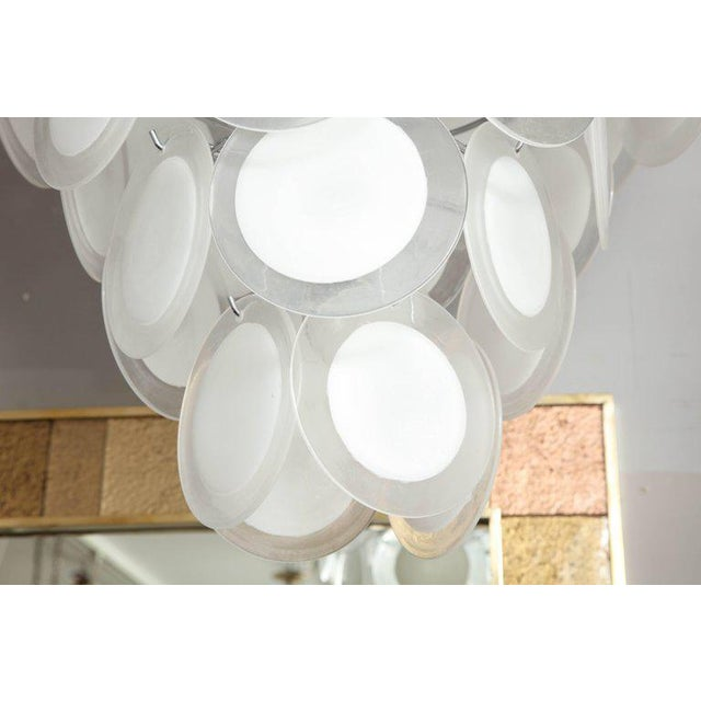 Mid-Century Modern Murano White Glass Disc Chandelier For Sale - Image 3 of 7