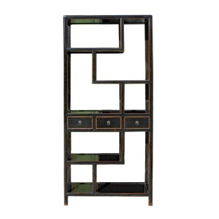 Black Lacquer Two Sided Display Curio Cabinet Room Divider For Sale