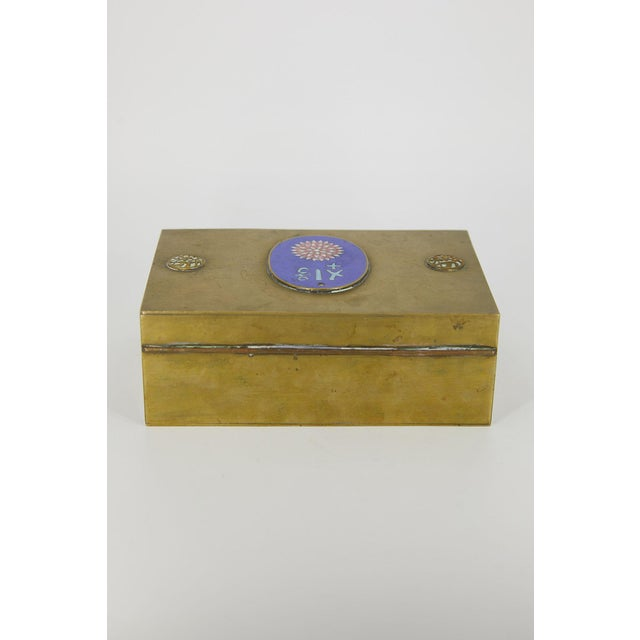 Mid 20th Century Vintage Chinese Brass and Enamel Box For Sale - Image 5 of 7