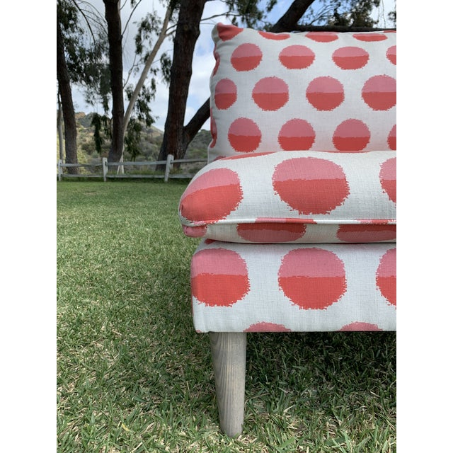 Wood Land of Nod Margot Flamingo Polka Dot Settee For Sale - Image 7 of 12