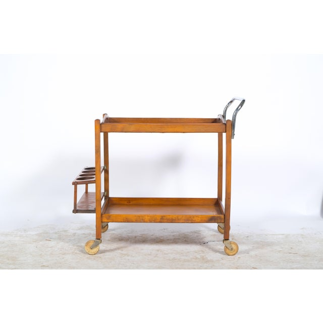 Mid-Century Wooden Bar Cart For Sale - Image 4 of 11