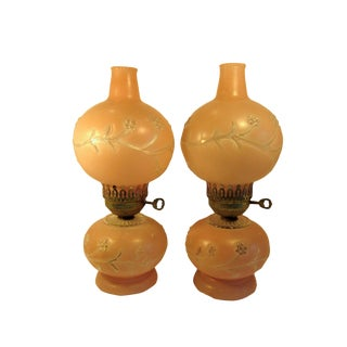 1950s Vintage Double Globe Victorian Style Melba Parlor Lamps - a Pair