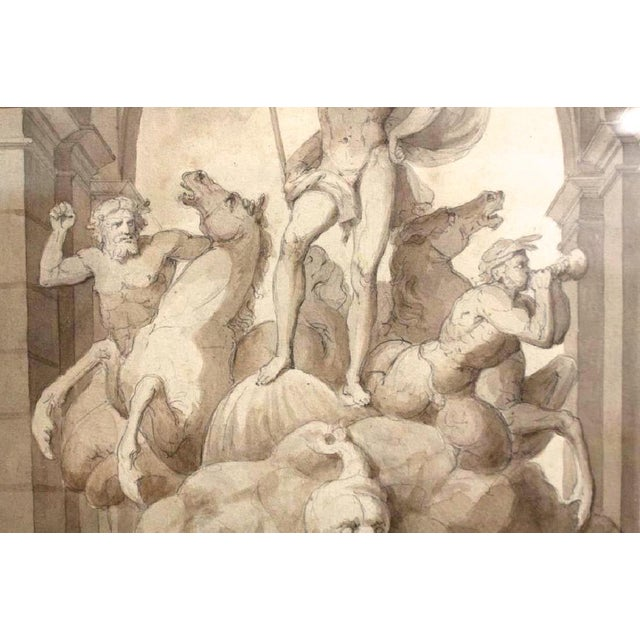 Watercolor 1838 Palazzo Torlonia, Rome Grisaille Neptune Fountain Watercolor Painting For Sale - Image 7 of 11