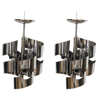 1970s Spiral-Ribbon Chrome Chandeliers by Gaetono Sciolari, Lightolier - a Pair For Sale