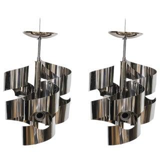 1970s Spiral-Ribbon Chrome Chandeliers by Gaetono Sciolari, Lightolier - a Pair For Sale
