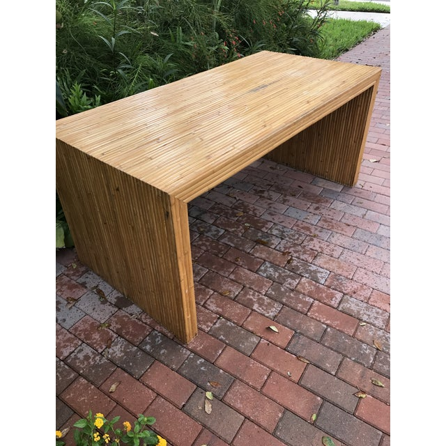 Bamboo Vintage Pencil Reed Bamboo Waterfall Dining Table or Desk For Sale - Image 7 of 9