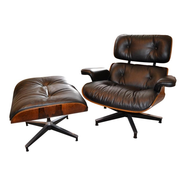 Vintage Eames for Herman Miller Rosewood Lounge Chair & Ottoman - A Pair - Image 3 of 6