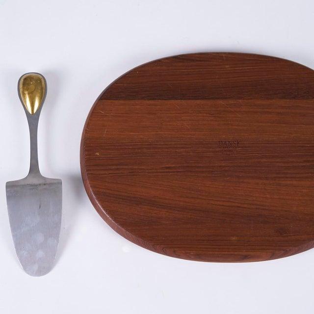 Dansk Vintage Vivianna Torun Bulow-Hube for Dansk Cheese Knife, Cake Server, and Teak Cutting Board For Sale - Image 4 of 7