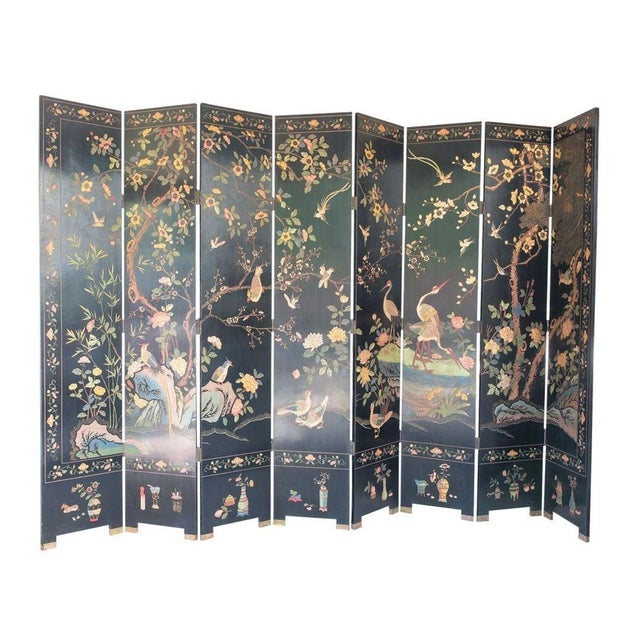 Large Lacquered Asian Screen - Image 1 of 8
