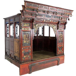 20th Century Chinese Canopy Intricately Carved Wedding Opium Bed For Sale