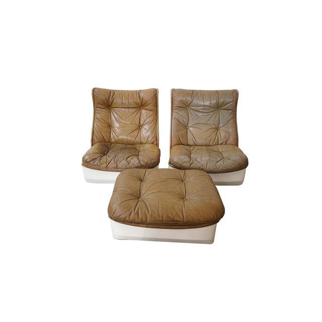 Pair of Leather Chairs and Single Ottoman, Sold as a Set For Sale - Image 10 of 10