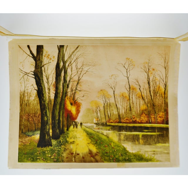 Vintage Paris Etching Society Framed Canal Scene Engraving - Signed ...