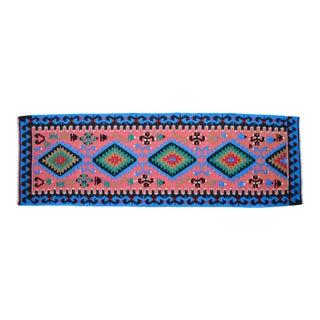 "Vintage Turkish Handmade Kilim Runner Rug - 2'7"" X 7'10"" For Sale"