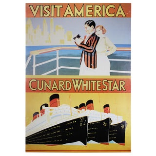 Original 1930s Cunard White Star Travel Poster For Sale