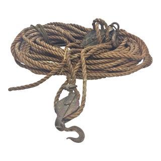 Vintage Nautical Block & Tackle - 140 Feet of Rope