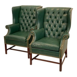 Vintage Mid Century Hancock & Moore Emerald Green Leather Wing Chairs- A Pair For Sale