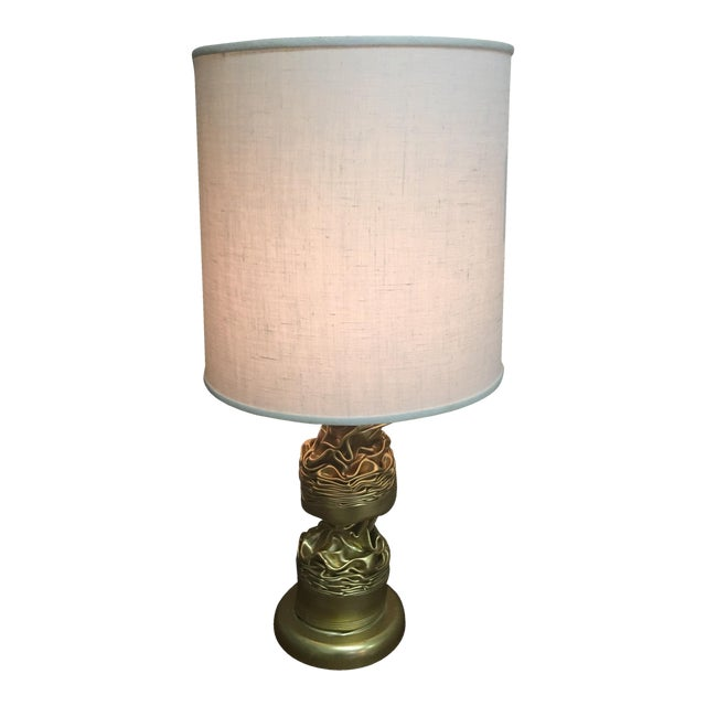 Brass Abstract Lamp & Barrel Shade - Image 1 of 4