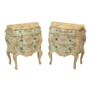 Italian Painted Bombe Commodes - A Pair For Sale