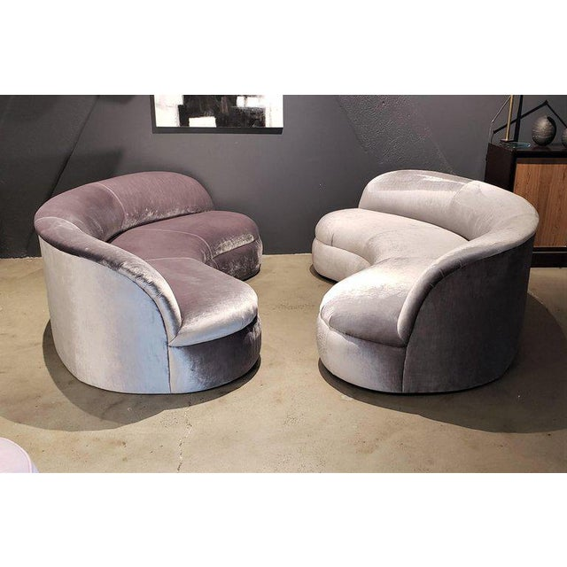 Directional Kagan Style Restored Velvet Biomorphic Curved Sofas For Sale - Image 10 of 11