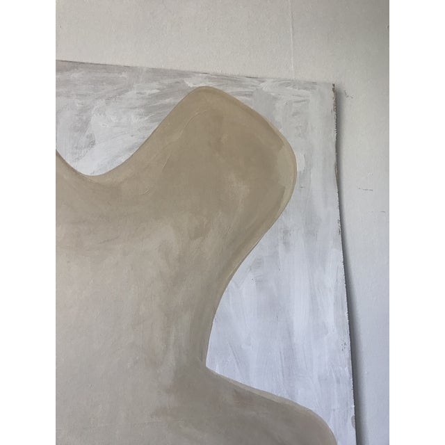 2010s Oversized Neutral Abstract Critter Painting on Plywood For Sale - Image 5 of 9