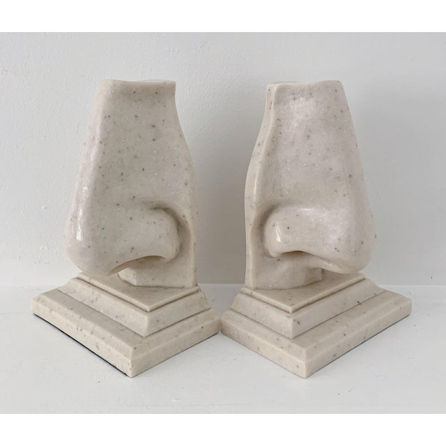 1970s Vintage Oversized Nose Faux Marble Bookends - a Pair For Sale - Image 5 of 5
