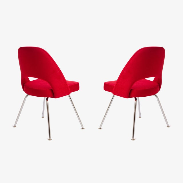 Saarinen for Knoll Executive Armless Chairs in Original Knoll Fire-Red, Pair - Image 5 of 9