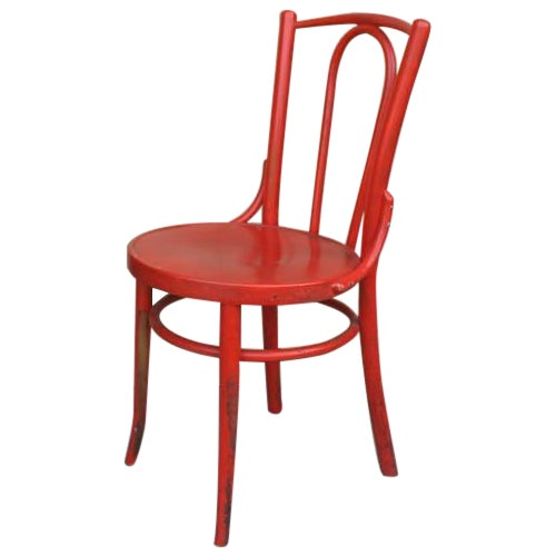 Red French Bentwood Dining Chair - Image 1 of 7