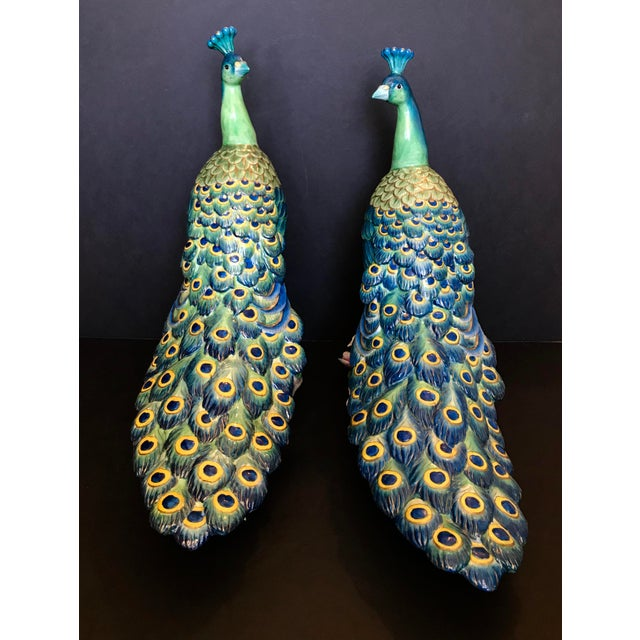 Asian Vintage Hand Painted Porcelain Peacock Figurines - a Pair For Sale - Image 3 of 12