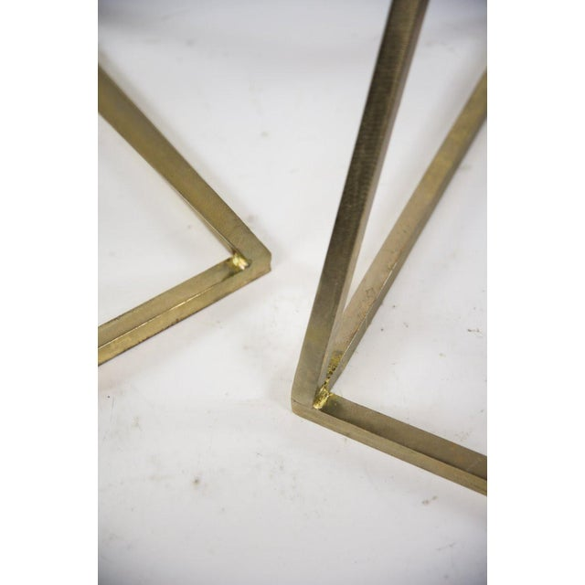Modern Gold Steel & Black Granite Accent X Frame Tables - A Pair - Image 8 of 11