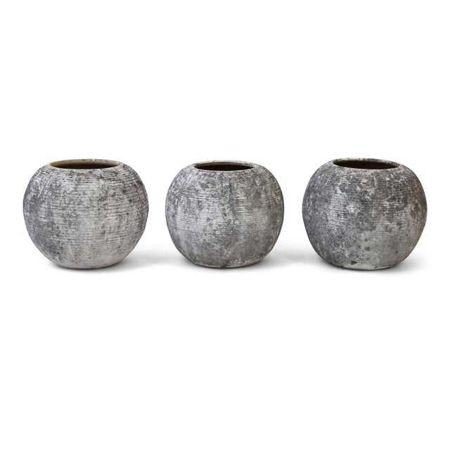 Trio of Vintage Round Ribbed Planters For Sale - Image 11 of 11